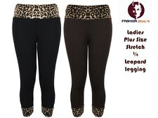 NEW WOMENS Plus Size Stretch 3/4 Leggings Leopard Print Trousers Pants 12-26