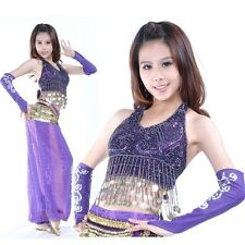 SF15# Belly Dance Costume Sequins Top,Hip Scarf and Harem Pants 10 Colors