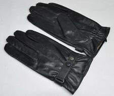 Men's Black Genuine Sheep Leather Winter Touch Screen Gloves for iPhone samsung