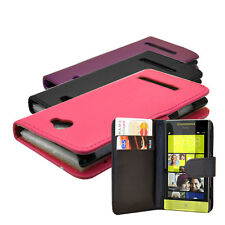 NEW 3 COLOUR WALLET BOOK FLIP MOBILE PHONE CASE COVER FOR HTC WINDOWS 8S