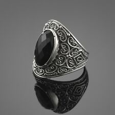Fine 925 Sterling SIlver Unisex Black Onyx Gem Statement Ring