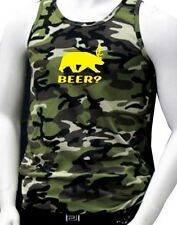 """NEW MEN'S PRINTED """"BEER?"""" DEAR BEAR FUNNY GRAPHIC CAMOUFLAGE PRO-5 ARMY TANK TOP"""