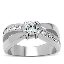 Stainless Steel Crossover Design Engagement Ring w/ 1CT Diamond Simulants. AM214