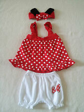 Minnie Mouse Baby Girl Red Pink Polka Dots Set w Headband Birthday Outfit