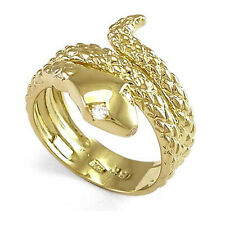 MEN'S AND WOMEN'S RING SNAKE DIAMOND EYE SERPENT RING IN 18K YELLOW GOLD #R755