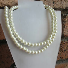 Elegant Glass Pearl 2 Row Necklace For Wedding Holiday Party 14 Different Cols