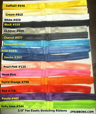 5/8 FOE ELASTIC STRETCHING RIBBONS- 5/10/15/30 YARDS-1 COLOR-OR MIX 15 COLORS