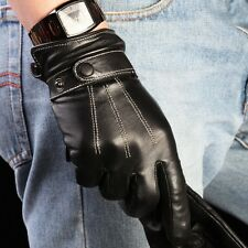 Men's Nappa Leather Touch Screen Gloves for Smartphone Long Fleece Lining