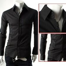 PJ Men's Casual Shirt Dress Shirt Long Sleeve Longsleeve Button down Slim Fitted