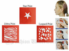 HAIR TATTOO STENCIL TEMPLATE AVAILABLE IN 3 DESIGNS LEOPARD, ZEBRA & STAR