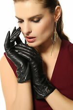 Women's real lambskin leather gloves w/gold plated logo