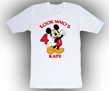 Mickey Mouse Personalized Birthday Shirt in White, Blue, Pink and Yellow