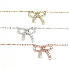 CZ Bow Necklace - Sterling Silver, Gold Vermeil, or Rose Gold