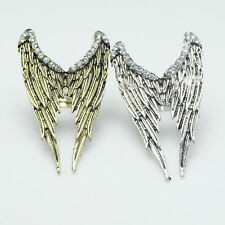 Vintage Bronze/Silver Angel Wings with Crystal Adjustable Charm Ring