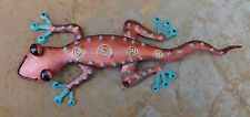 Handcrafted Metal Gecko Copper Finish Wall Home Patio Garden Decor Art Sculpture