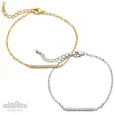 CZ Cubic Zirconia Pave Setting Simple Bar Line Stick Shaped Gift Bracelet Chain