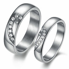 Heart-shaped Couple Rings  Wedding Love Bands Stainless Steel Set Gifts 377