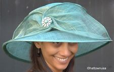 NEW Women's Kentucky Derby Hat Whimsical Jewel Broach and Wide Bow Sinamay Straw