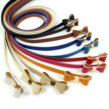 CHEAP! 10 Color Beautiful Fashion Girdle Gold Edge Bow Womens Thin Leather Belt