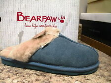 """Bearpaw """"Tegan"""" Scuffs Cozy Slip on Shoes Steel Blue New with Box"""