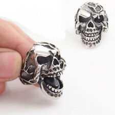 USA Seller Men's Stainless Steel Movable Mouth Skull Harley Biker Ring Size 8-14