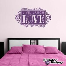 Live Laugh Love Spiral Frame Vinyl Wall Decal Quote home decor art sticker L101