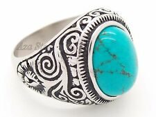 Mens Large Natural Oval Turquoise Stainless Steel Ring Size 8,9,10,11, 12, 13