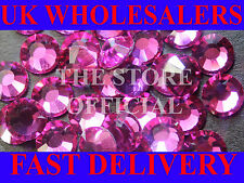 2000 Flat Back, 14 Facets, Hot Pink Fuchsia PREMIUM Resin Rhinestones
