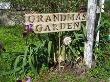 Grandmas Garden Tin Sign for Home or Garden Decor - Metal Yard Art Flower Stake