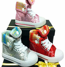 Girls Canvas Glitter Shoes plimsolls Rol Up High Top Ankle Trainers Summer Pumps