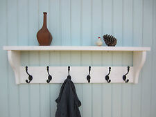 SHABBY CHIC WHITE WASHED hat coat rack shelf with acorn hangers  / AWX
