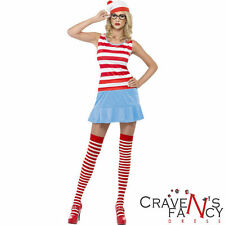Ladies Where's Wenda Wally Cutie Fancy Dress Costume Outfit FREE Stockings Book
