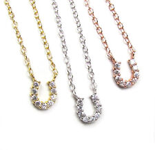 Tiny CZ Horseshoe Necklace - Sterling Silver, Rose Gold Vermeil or Gold Vermeil