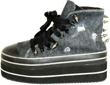 "CUTE TO THE CORE ELE DENIM AND SPIKES ON TREND HIGH-TOP 2""  PLATFORM SNEAKER"