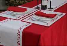 Christmas Yuletide Reindeer/Tree Red Table Cloths, Runners, Placemats, Napkins