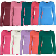 LADIES LONG SLEEVE PLAIN TOP WOMEN BASIC COTTON T-SHIRT TOPS UK SIZE 8-14