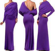 PURPLE MULTI WAY Reversible PLUNGING Convertible MAXI DRESS Off Shoulder Cruise