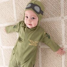 Baby Boy Pilot Military AirForce Fancy Dress Party Costume Outfit+HAT Set 3-24M
