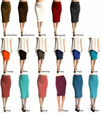 Career Sexy Straight Ponte Knit Pencil Stretch Knee Length Slim Waistband Skirt