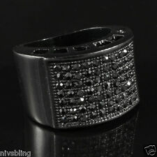 Jet Black Band Micropave Onyx CZ Mens Hip Hop Bling Iced Out Blackout Pinky Ring