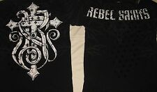 "Rebel Saints by Affliction 'INVADE' ""SPECTIVE"" Men's Silver Foil 2-Sided T-Shirt"