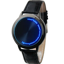 NEW Mirror Face Blue LED Touch Screen Wrist Watch Men Fashion Unisex Black Dial