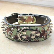 New Camouflage Leather Dog Collar Spikes & Studded Collar PitBull Terrier Boxer