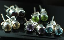 SOLID 925 STERLING SILVER STUD/POST EARRINGS - A CHOICE OF 5 DIFFERENT GEMSTONES