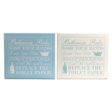 WOODEN BATHROOM RULES PLAQUE SHABBY CHIC WALL SIGN BLUE CREAM GIFT HOME DECOR
