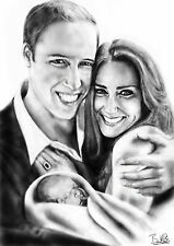 William and Kate with royal baby portrait canvas Kate Middleton Prince William