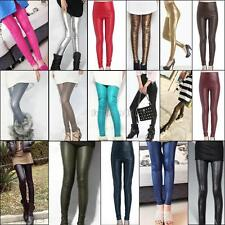 fashion sexy high waist tights shiny faux leather skinny pants leggings xs s m l