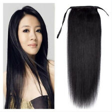 """16""""-24 real indian remy human hair ponytail clip in hair extensions 1# jet black"""