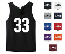 Number 33 Thirty Three Sports Number Jersey Tank Top Front Print