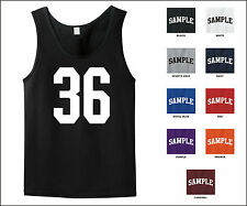 Number 36 Thirty Six Sports Number Jersey Tank Top Front Print